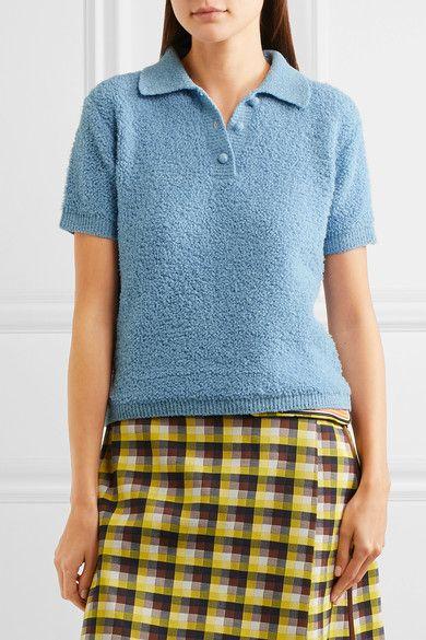Prada - Wool-blend Bouclé Polo Shirt - Sky blue - IT40