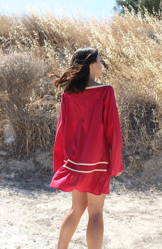 Vintage red yellow coton long sleeve over sized long tunic