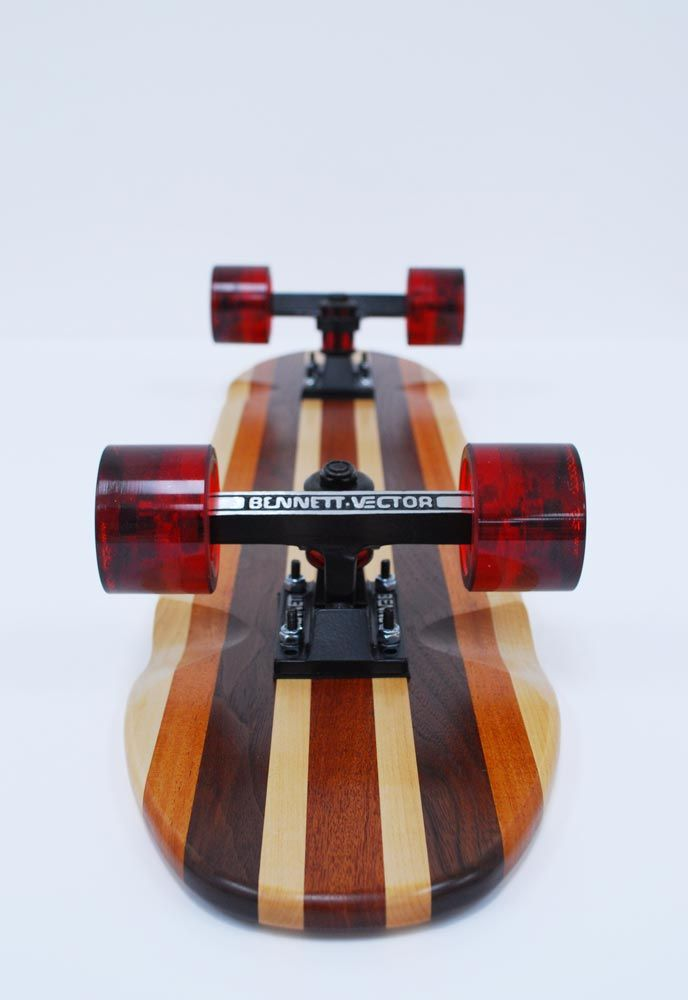 Homemade skateboard by Procured Design - Laminated wood and leather risers