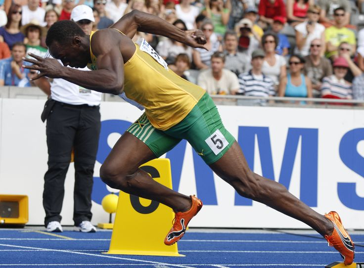 Usain Bolt, the man who got me running in the first place.    Tyson Gay is very good, but he will always remain 2nd as far as I'm concerned. Not that there's anything wrong with that.
