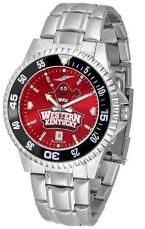 Western Kentucky University Men's Stainless Steel Dress Watch by SunTime. $86.95. Officially Licensed Western Kentucky Hilltoppers Men's Stainless Steel Dress Watch. Stainless Steel. Men. Links Make Watch Adjustable. AnoChrome Dial Enhances Team Logo And Overall Look. Western Kentucky men's stainless steel watch. College dress watch with rotating bezel color-coordinated to compliment your favorite team logo. The Competitor Steel utilizes an attractive and secure stainle...