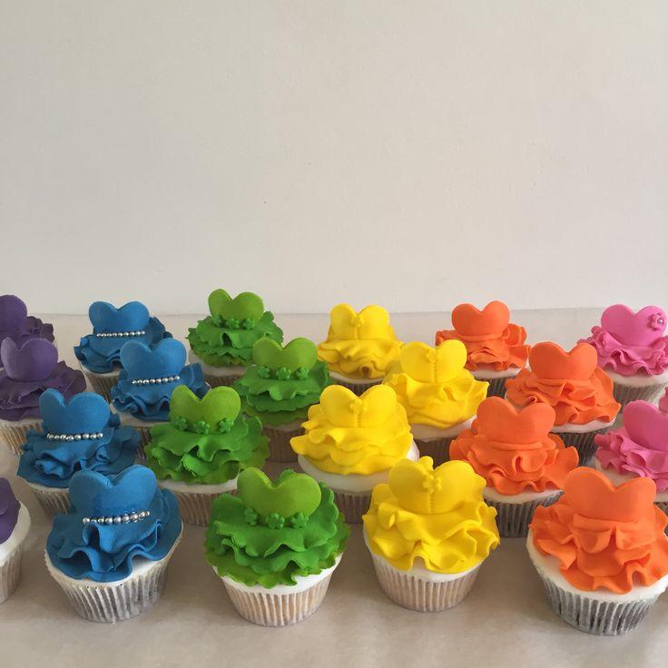 Ballerina themed rainbow themed cupcakes.