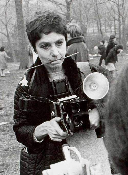 "Diane Arbus in Central Park, 1969, photographed by Garry Winogrand  ""The world can only be grasped by action, not by contemplation. The hand is the cutting edge of the mind."" Diane Arbus"