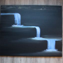 A dark and abstract waterfall painting. Three different falls. Painted with water soluble oil paint.