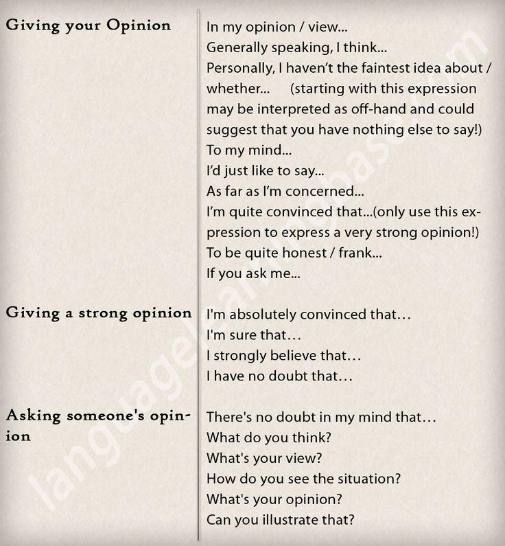 Talking about opinions - learn English,communication,vocabulary,english