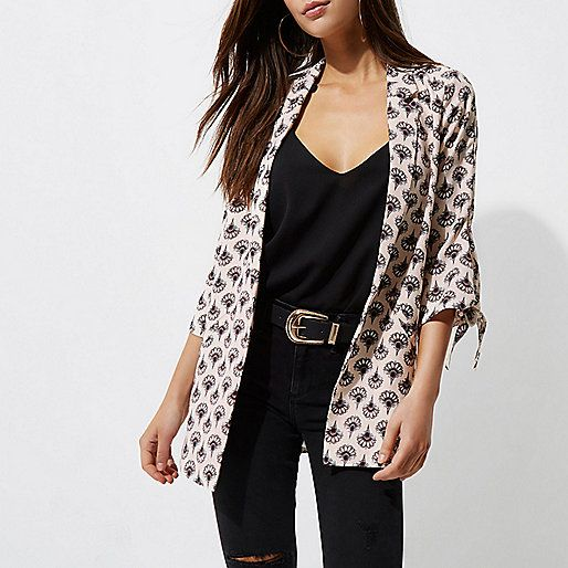 Beige fan print tie sleeve blazer - blazers - coats / jackets - women