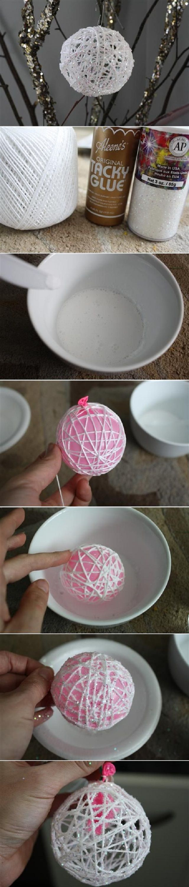 Glitter twine balls-Christmas tree ornaments, maybe?