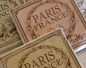 Set of 4 Country French Marble Stone Tile Coasters with VIntage French Perfume Label in Red, Blue, Green and Gold. $22.00, via Etsy.