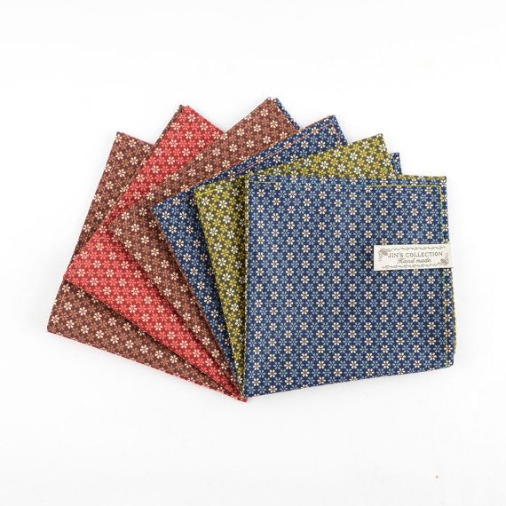 Daisy flower pattern cotton pocket square with multi-colour thread edge stitched. duo colour handkerchief. flower pattern handkerchief