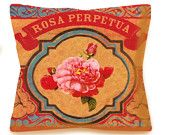 Mexican Rose Decorative Hispanic Pillow - ROSA PERPETUA - 16x16 - Linen backing - Insert Included - Southwestern Home Accents