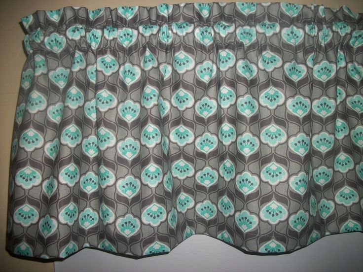 Charcoal Gray Teal Flower retro mid-century Fabric Curtain window topper Valance #Handmade #Contemporary