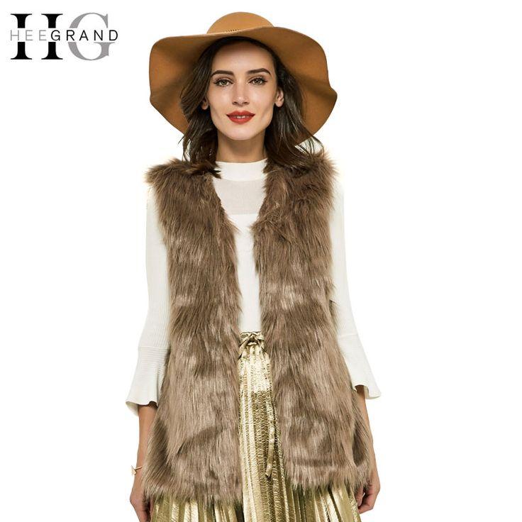 Hee grand 2016 autunno inverno faux fur vest colete de pele falso giacca casacos femininos cappotto delle donne plus size wwc047