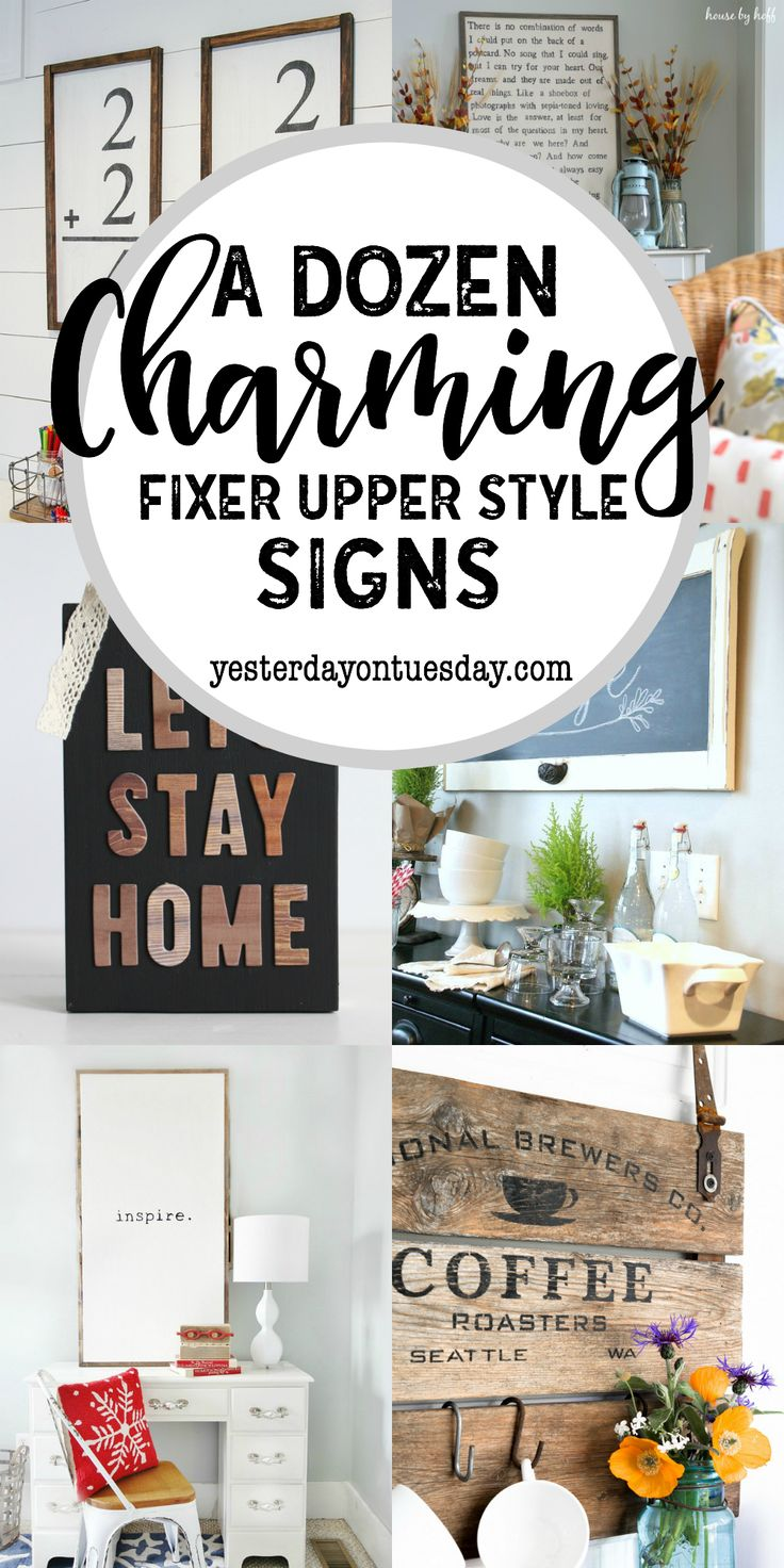 A Dozen Charming Fixer Upper Style Signs: Great DIY signs to make for your home. fixer upper | modern farmhouse | rustic | decor
