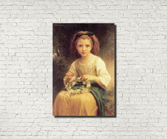 Stampa su carta pregiata: William-Adolphe Bouguereau, vecchi maestri: Bambino intrecciatura, arte classica francese iconica figura pittura