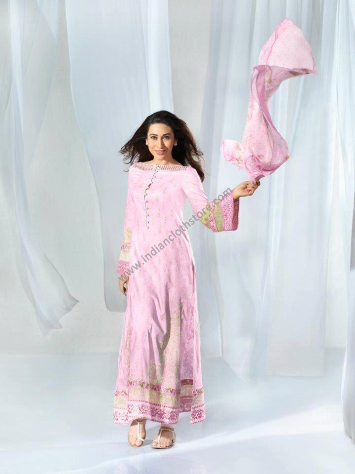 $192.05 Pink Long Cotton Lawn Dress / Suits 14829