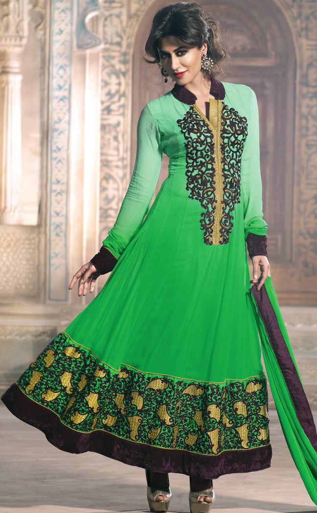 #Green Shaded Faux Georgette #Churidar #Anarkali #Suit