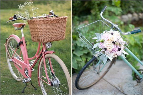 pink, ivory and grayish blue bouquet: Bicycles Baskets, Wedding Inspiration, Vintage Bikes, Bicycle Bouquets, Vintage Bicycles, Old Bike, Beautiful Bikes, Bike Baskets, Blue Bouquets