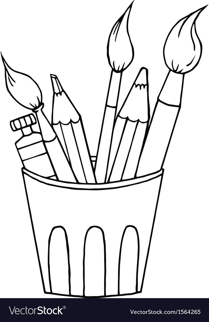 Cartoon Art Supplies Vector Image On Art Supplies Drawing Clip