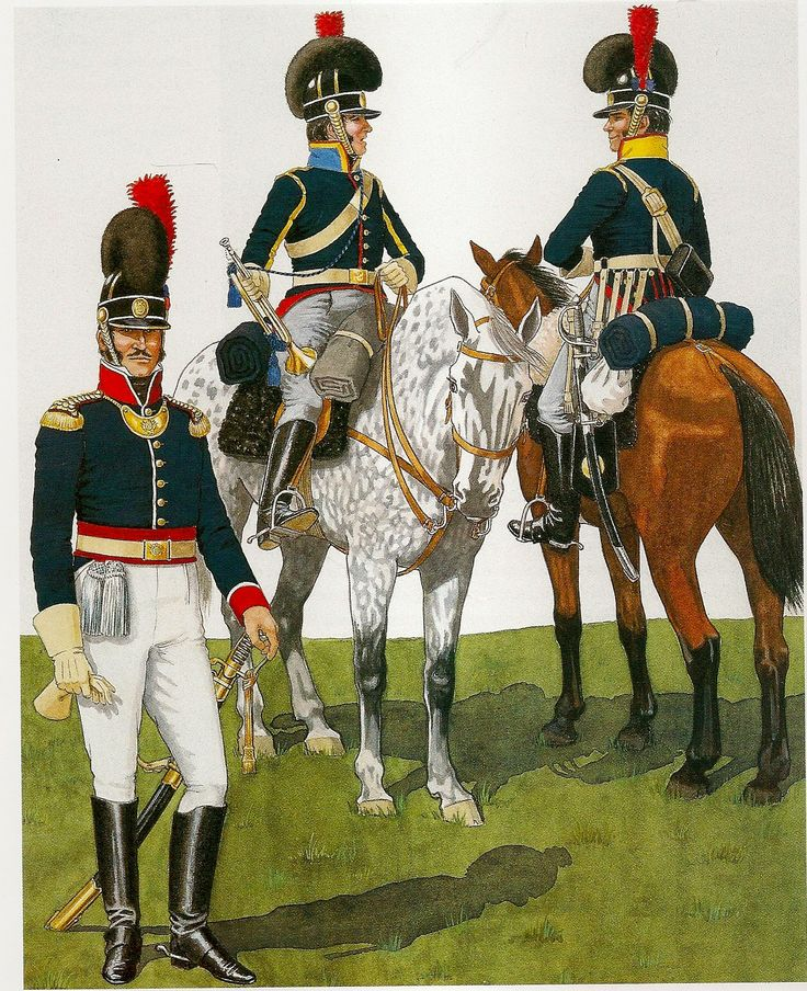 (Left) Officer of the 4th Cavalry Regiment.                    (Center) Trumpeter of the 11th Cavalry Regiment. (Right) Soldier of the 8th Cavalry Regiment. Portuguese Cavalry