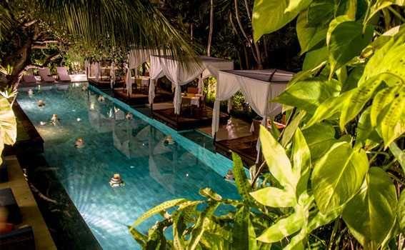 Seminyak restaurant By the pool in night