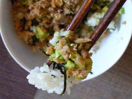 tuna avocado rice bowl avocado rice tuna avocado ripe avocado canned ...