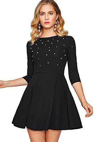 ROMWE Damen Elegant Kleid mit Perlen A-Linie Faltenrock ...