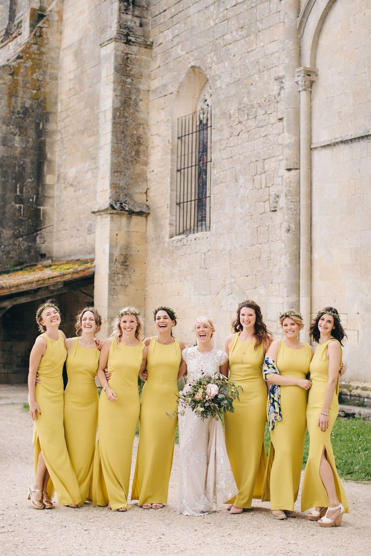Mustard Yellow Bridesmaids Dresses from Whistles - Hermione De Paula Wedding Dress | Destination Wedding At Chateau Rigaud France | Images by M&J Photography | Bridesmaids in Mustard Yellow Whistles Dresses