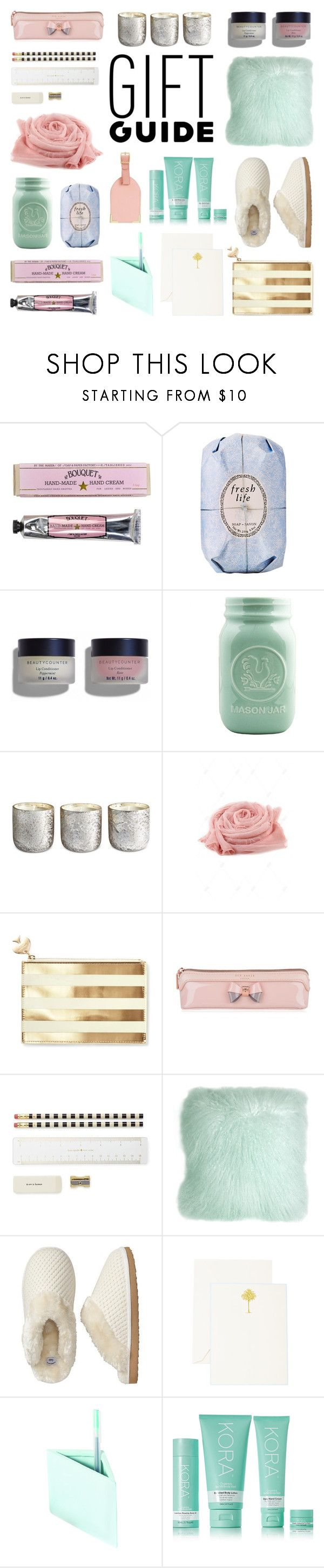 """Gift Guide: Work BFF"" by deepwinter ❤ liked on Polyvore featuring Soap & Paper Factory, Fresh, Illume, Kate Spade, Ted Baker, Pillow Decor, Gap, The Printery, Imm Living and KORA Organics by Miranda Kerr"