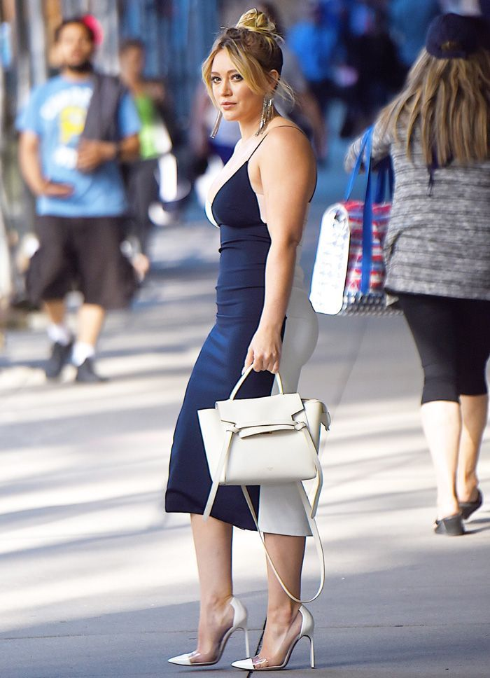 Hilary Duff stepped out wearing chic shoes that combine two major trends right now—shop them here.