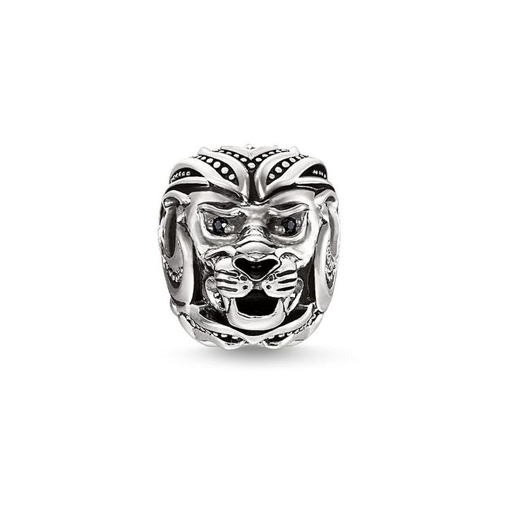 Bead - Plata de ley 925, ennegrecida - circonita negra - esmaltado en negro • Potente efecto • Diseño detallado • Animal de poder Fuerza y valentía: El bead Cabeza de león está concebido para transmitir los atributos positivos de este animal a la persona que lo luce.