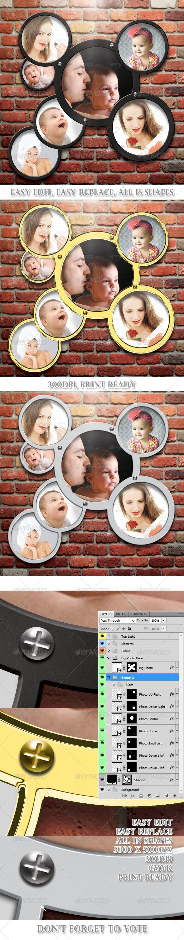 Metal Photo Frames Template 05 by 21min You can put and one whole picture!!! - - The Pack include- - �20Fully Layered PSD file �20Three styles of Frames �20PSD Photo Fram