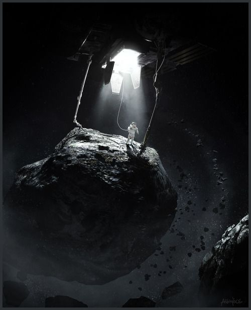 ArtStation - Asteroid Mining , by Alex NiceMore Cosmonaut here.