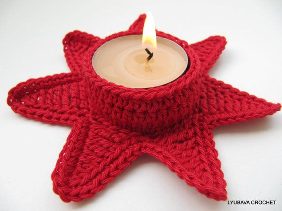 Crochet Star Candle Holder