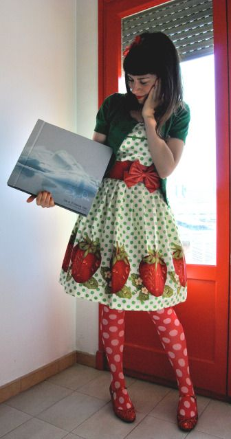 Cute strawberries on an Emily Temple Cute print. This is the cutest, most adorable outfit I've ever seen!