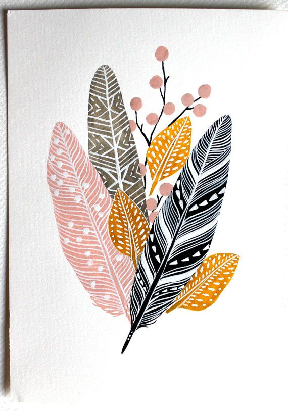 Feather Painting - Watercolor Nature Art - Large Archival Print - 11x14 Feather…