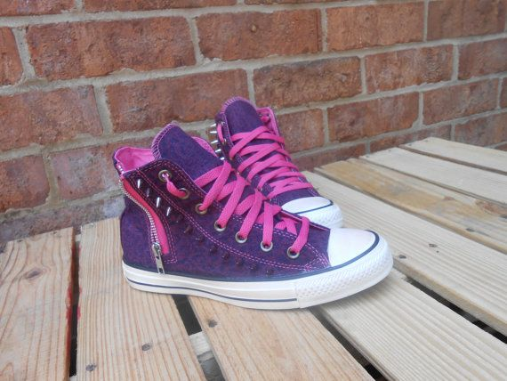 Pink Jean Zipper spikes custom made Chuck Taylor by JAMCouture4u, $89.00