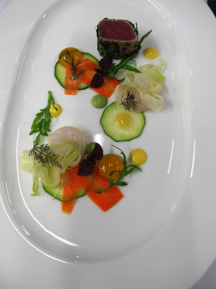 Marinated Tuna, Scallop Ceviche, Pickled Vegetables, Saffron