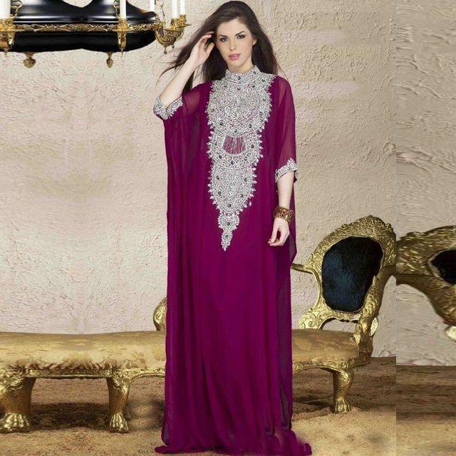 2016 NEW Caftan Long Dubai Muslim Purple Kaftan Abayas Arabic Turkish For sale Evening Robe Abayas for Woman Islamic Clothing