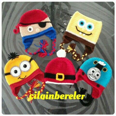 Sunger bob, minion, thomas train, crochet hat , baby hat , handmade