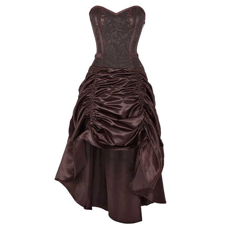 VG London Barnardel steampunk overbust korset jurk met gedrapeerde rok