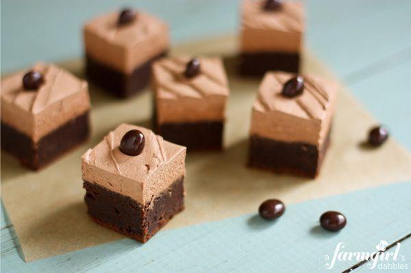 Brownies with mocha buttercream - www.afarmgirlsdabbles.com #chocolate