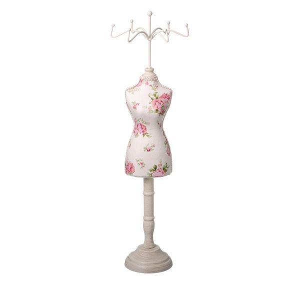 Suport bijuterii perfect pentru bratari si inele, inaltime suport 39.5 cm, model rochie cu flori
