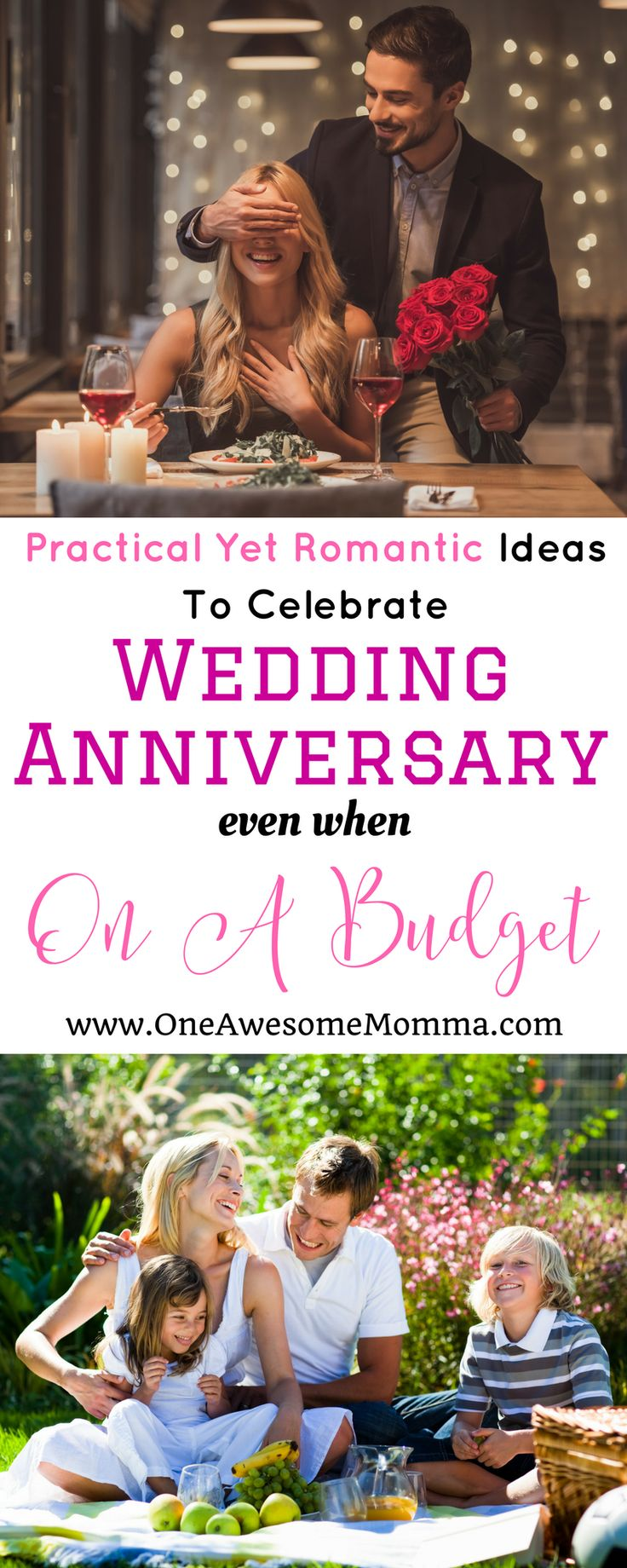 couple out on a romantic date, and a family having a picnic on a park - practical yet romantic ideas to celebrate wedding anniversary on a budget
