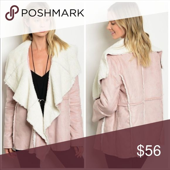  Blush jacket/coat -vegan suede Gorgeous faux suede with sherpa lining open front coat.  Lovely blush/nude pink color is super trendy this year. Material: 100% polyester Jackets & Coats