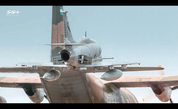Dramátismo a full, el A-4 lucha por quedarse cerca de la Chancha, nariz arriba y frenos afuera.