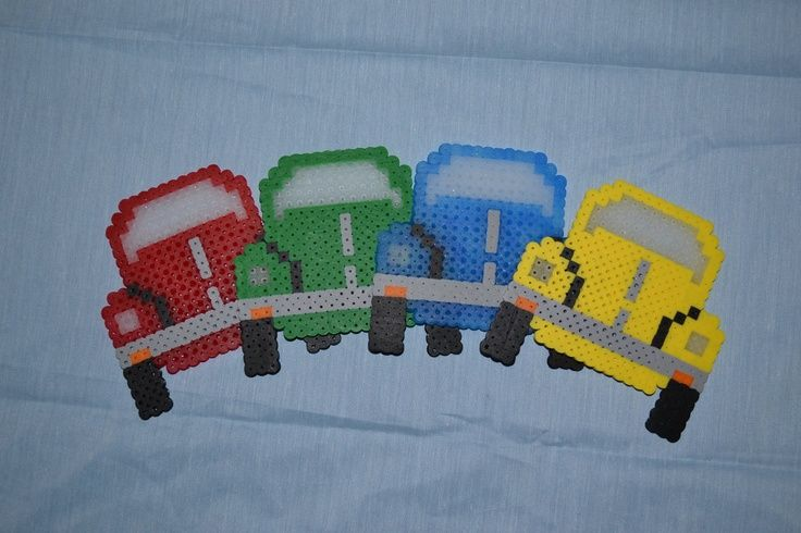 Perler VW Beetle / Bug Set of 4 Red Green door AnimeFreak4Life