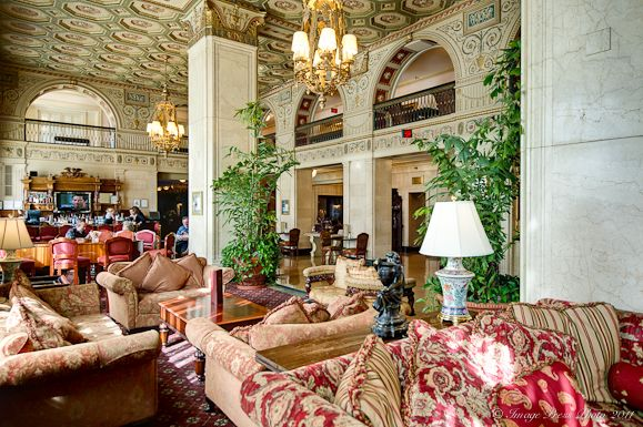 "Lobby at the Brown Hotel, Lousiville, Kentucky  where the legendary ""hot brown"" originated"
