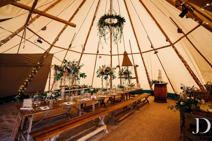 Tables Dressed beautifully inside our Giant Tipis at our Open Weekend 2018