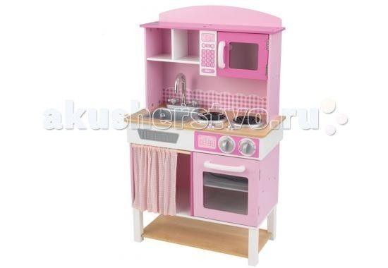KidKraft Детская деревянная кухня Домашний шеф-повар  KidKraft Детская деревянная кухня Домашний шеф-повар (Home Cooking Kitchen) - оригинальный выбор для каждой маленькой хозяйки.  Кухня выполнена в светло розовом цвете с белыми вставками и ножками. Столешница и большая нижняя полка декорированы под дерево.   Набор отличается своей реалистичностью - ручки и краны поворачиваются, а все дверцы могут открываться. Кухня очень похожа на настоящую.   Игрушка не только позволит развивать фантазию…