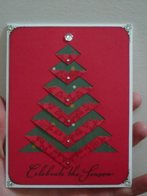 bastelideen für weihnachten weihnachtskarte  christmasbaum
